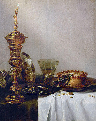 Painting Reproduction Painting - Breakfast Still Life With Chalice 1634 by Willem Claesz Heda