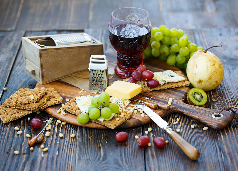 Breakfast With Crackers And Fruits Photograph by Julia Khusainova