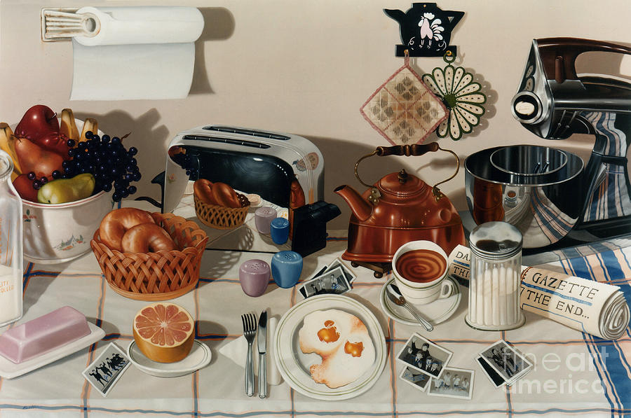 Still Life Painting - Breakfast With The Beatles - Skewed Perspective Series by Larry Preston