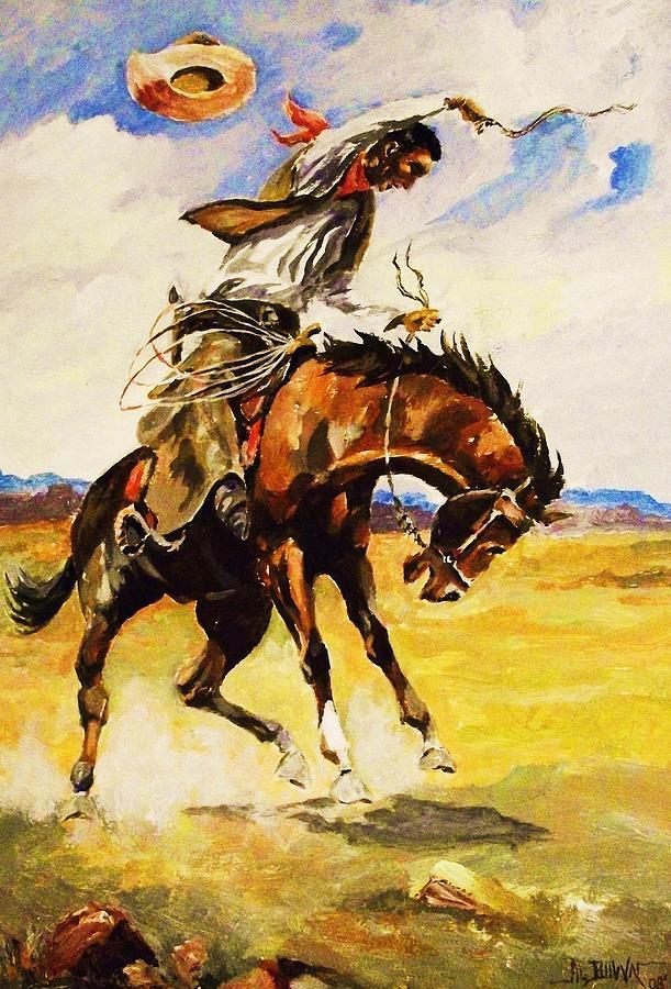 Bill Picket Taming a Bronc by Al Brown