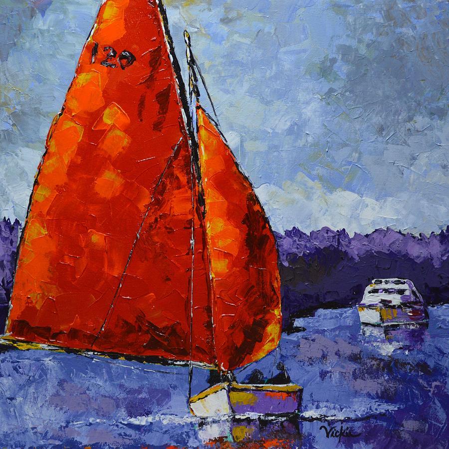 Sailboat Painting - Breaking Storm by Vickie Warner