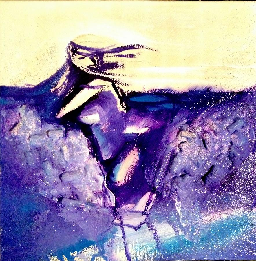 Relief Sculpted Gesso Gouache Acrylic Wave Break Girl Painting - Breaking Waves by Genevieve