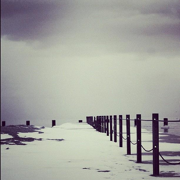 Monochromatic Photograph - Breakwater by Mike Maher