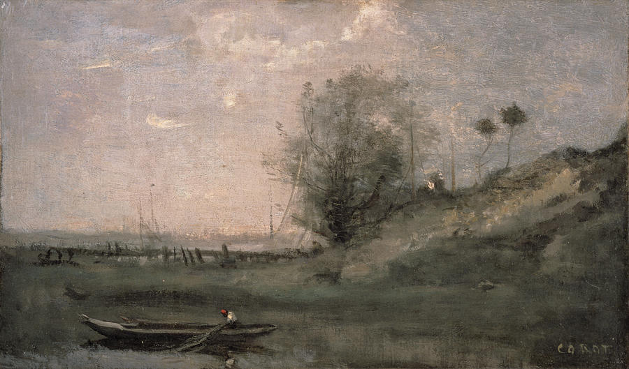 Landscape Painting - Breakwater, Normandy by Jean Baptiste Camille Corot