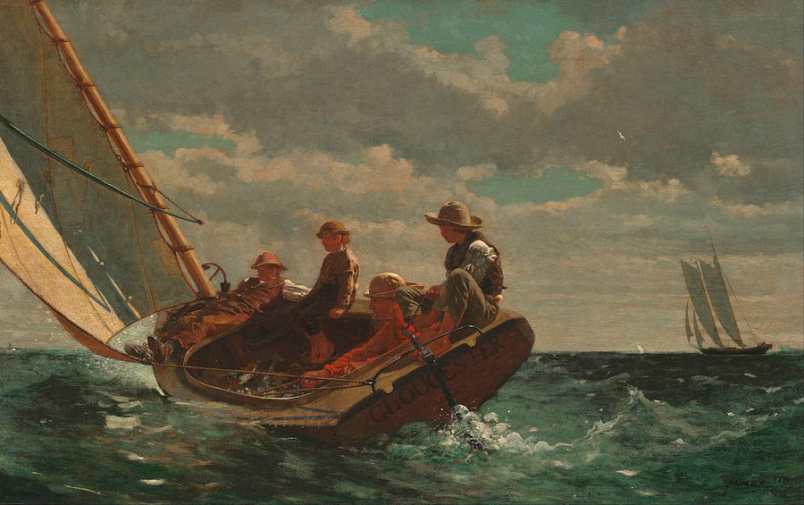 Winslow Homer Painting - Breezing Up.a Fair Wind by Winslow Homer