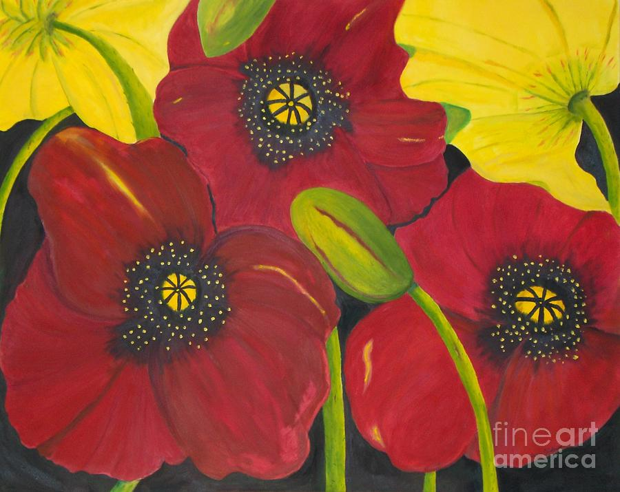 Poppies Painting - Brendas Poppies by Peggy Dickerson