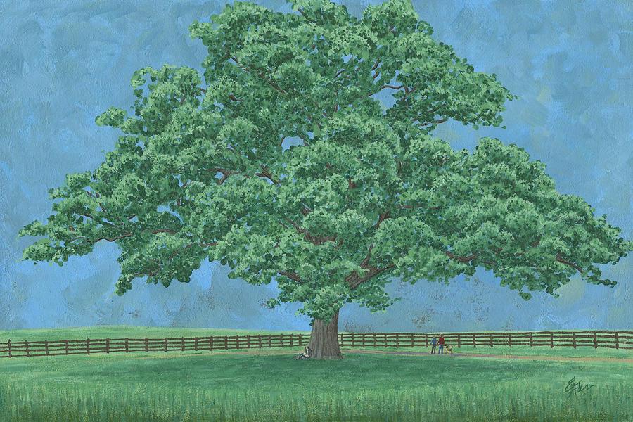 Landscape Painting - Brentwood Bur Oak  by Elaine Allen