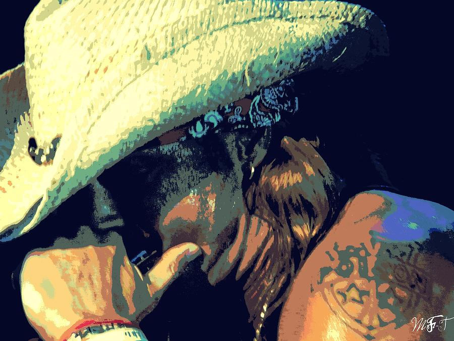 Actor Photograph - Bret Michaels With Harmonica by Michelle Frizzell-Thompson
