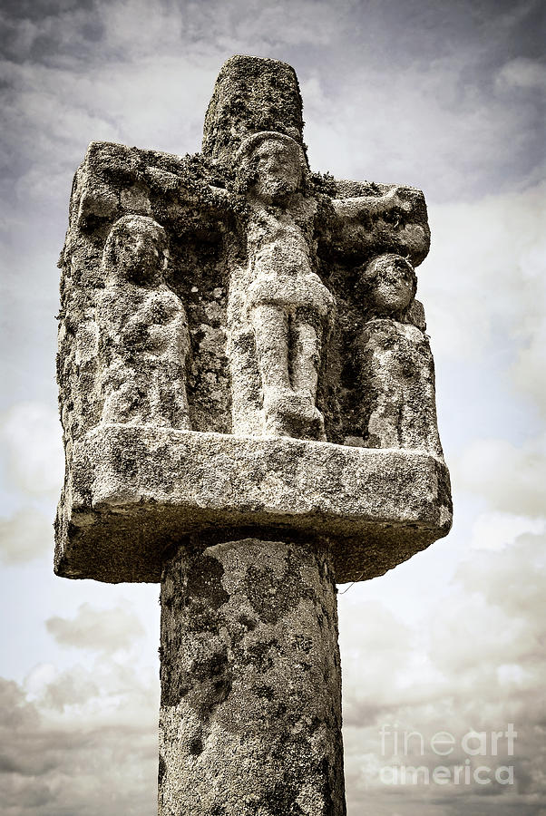 Old Photograph - Breton Stone Cross by Elena Elisseeva