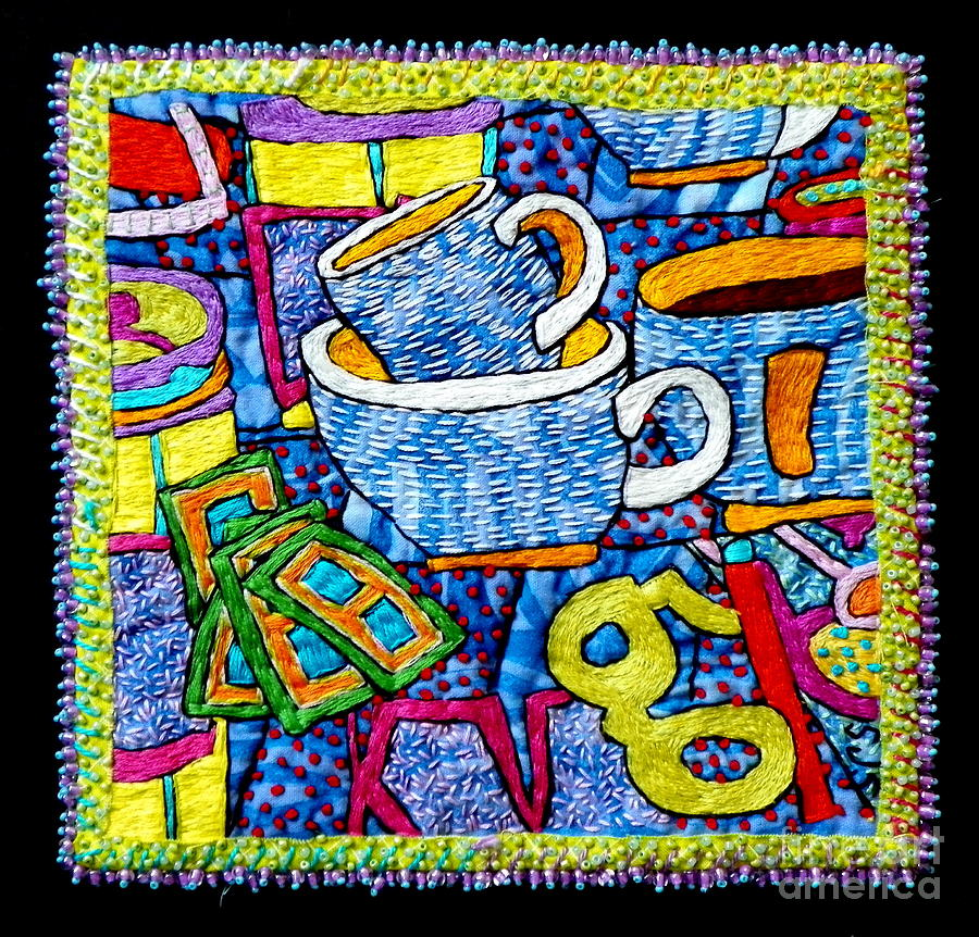 Fiber Tapestry - Textile - Brew And U by Susan Sorrell