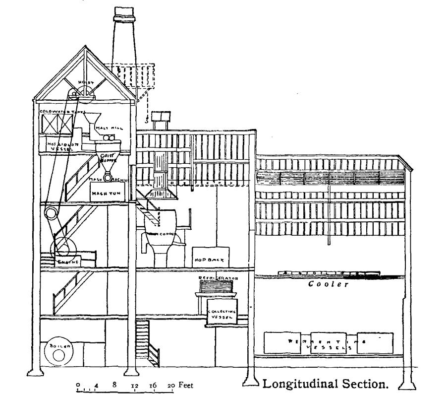 Brewery Cross Section Illustration Drawing By