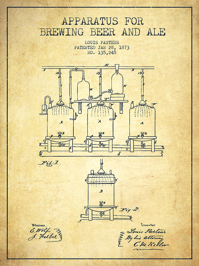 Brewing Beer And Ale Apparatus Patent Drawing From 1873 - Vintag Digital Art