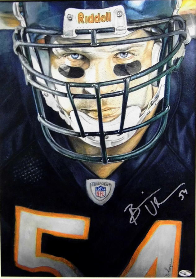 Chicago Drawing - Brian Urlacher-autographed by Dan Troyer