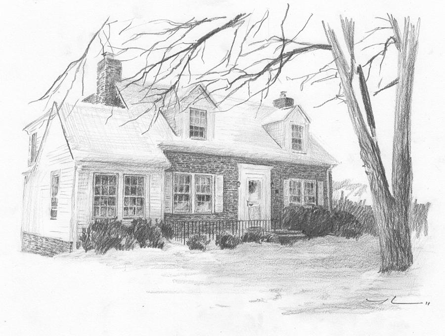 Brick Cottage Pencil Portrait Drawing by Mike Theuer