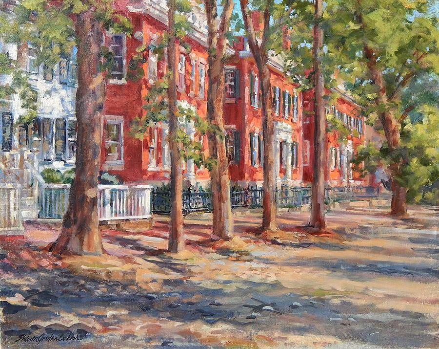 Brick Row Of Nantucket Painting by Sharon Jordan Bahosh