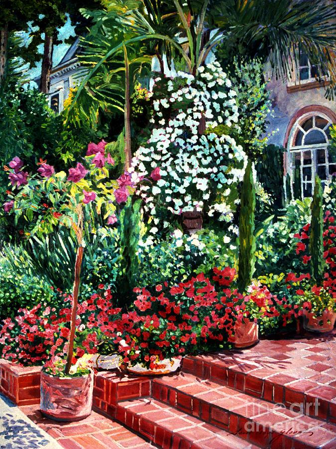 Gardens Painting - Brick Steps by David Lloyd Glover