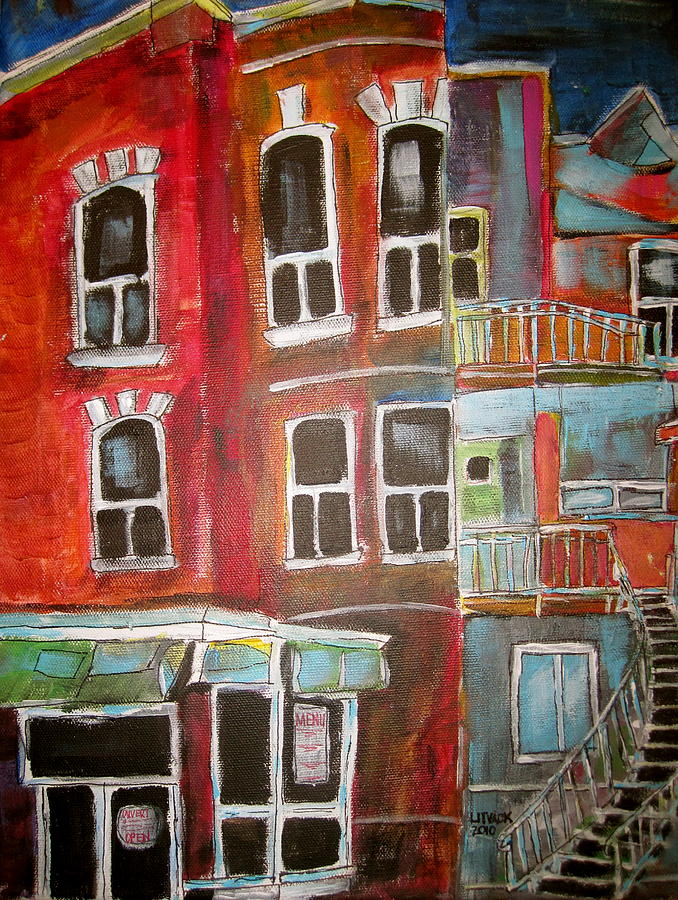 Waverly Painting - Brick Walkups by Michael Litvack