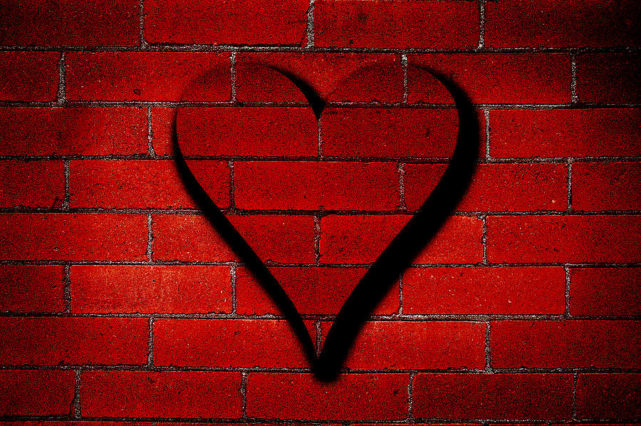 Brick wall heart graffiti photograph by lane erickson for Wall pictures