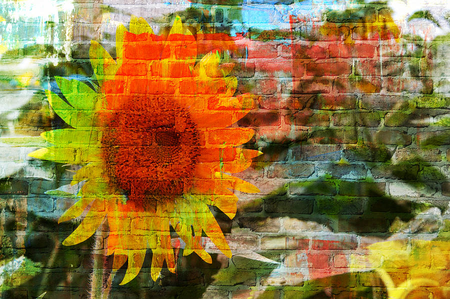 Sunflowers Photograph - Bricks And Sunflowers by Alice Gipson