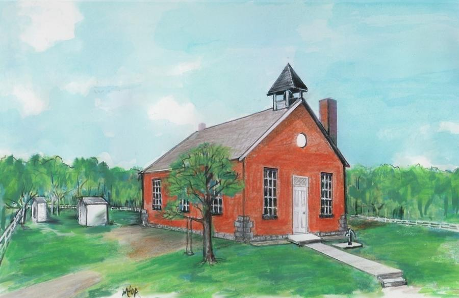 Mary June Armstrong Painting - Bricktown School by Mary Armstrong