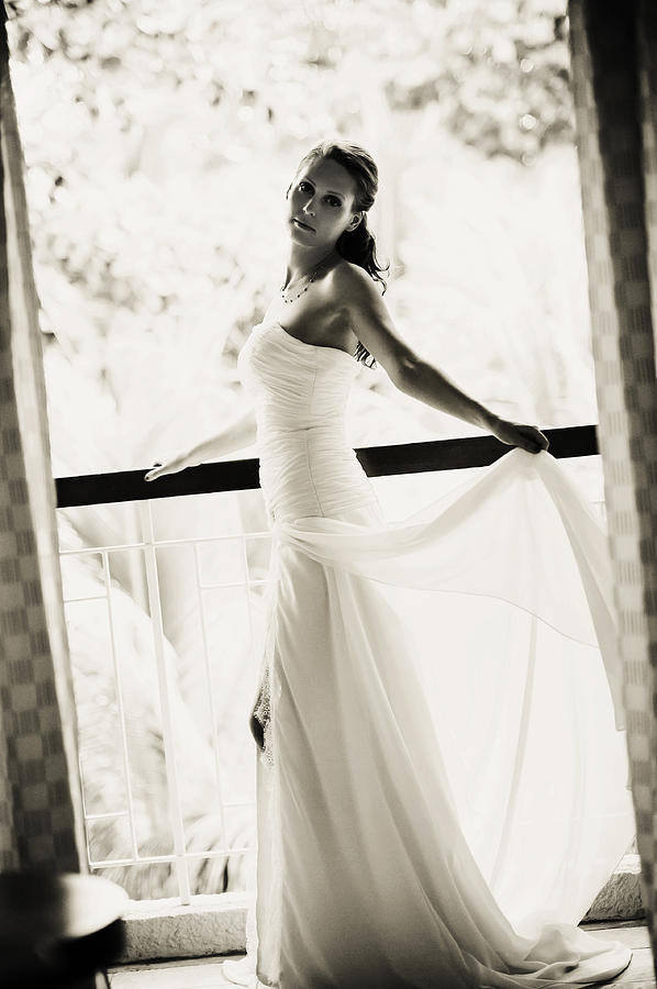 Marriage Photograph - Bride At The Balcony. Black And White by Jenny Rainbow
