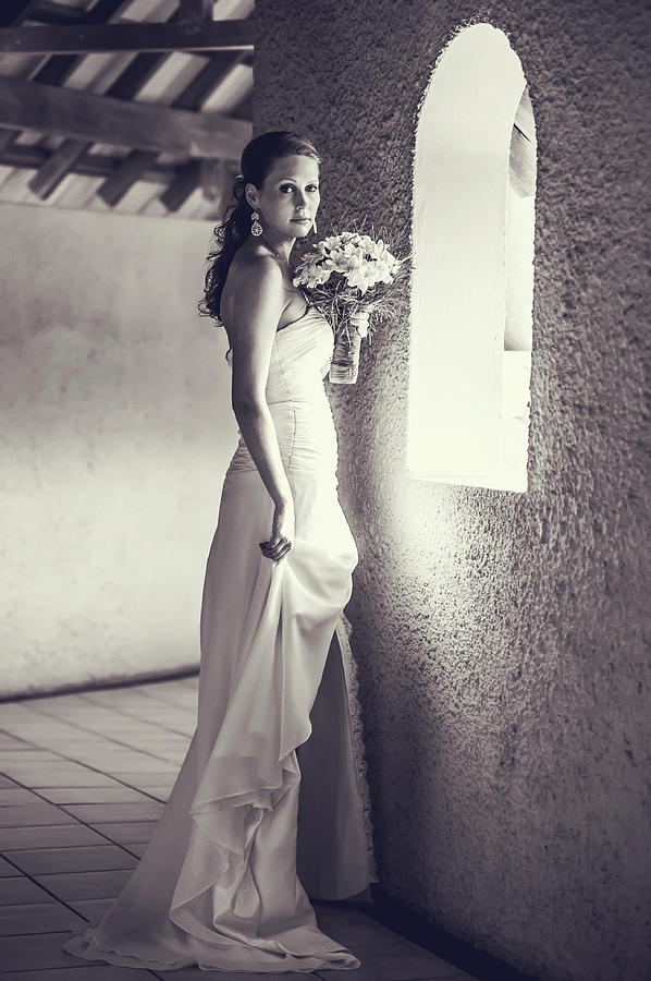 Marriage Photograph - Bride At The Window. Black And White by Jenny Rainbow