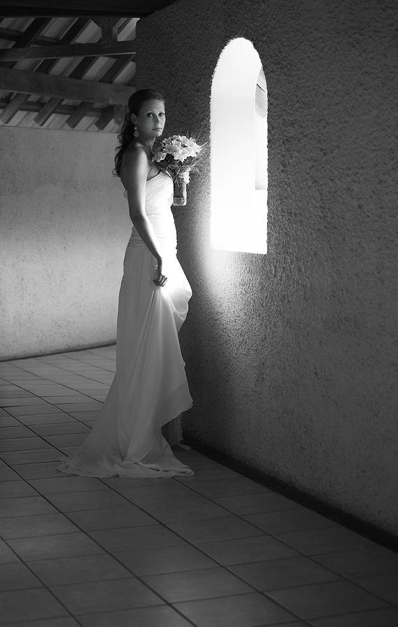 Marriage Photograph - Bride At The Window I. Black And White by Jenny Rainbow