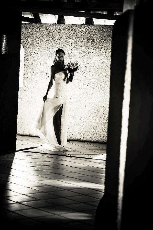 Marriage Photograph - Bride. Black And White by Jenny Rainbow