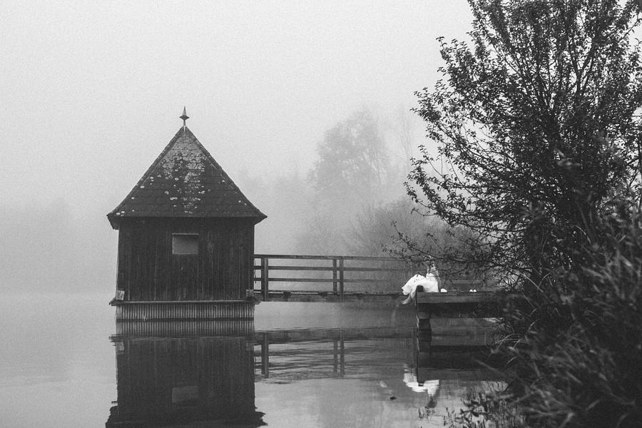 Austria Photograph - Bride In Foggy Landscape Sitting On A Jetty At A Lake by Leander Nardin