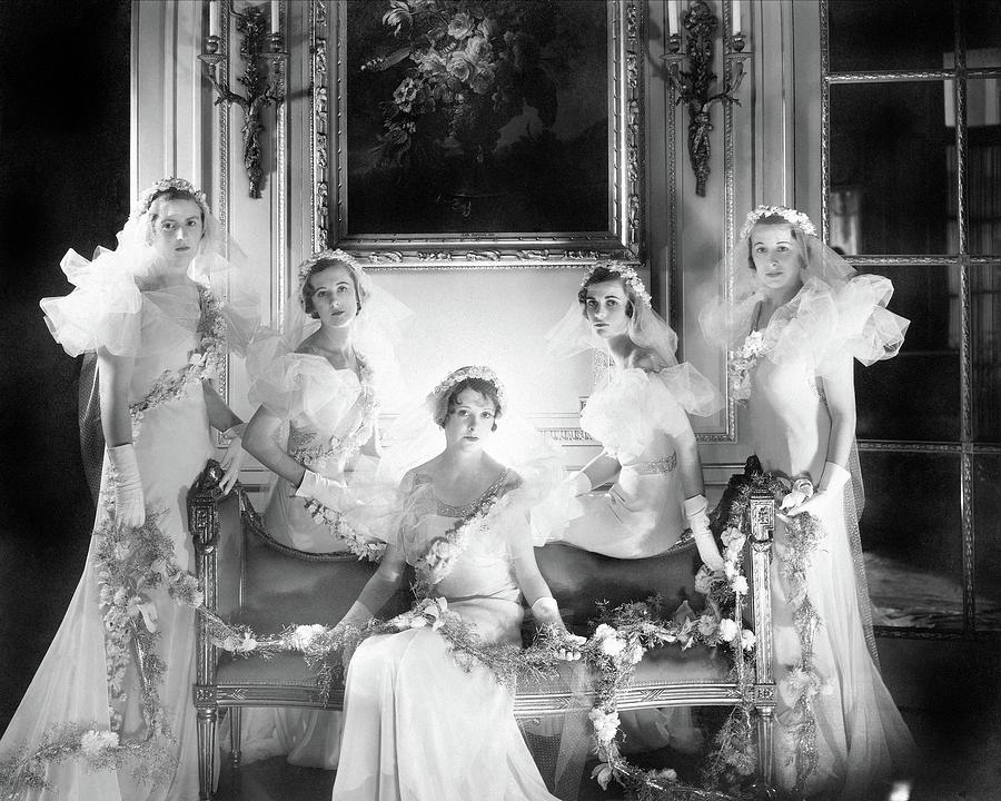 Bridesmaids For The Wedding Of Sir Hugh Houston Photograph by Cecil Beaton
