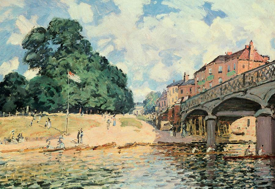 1874 Painting - Bridge At Hampton Court by Alfred Sisley
