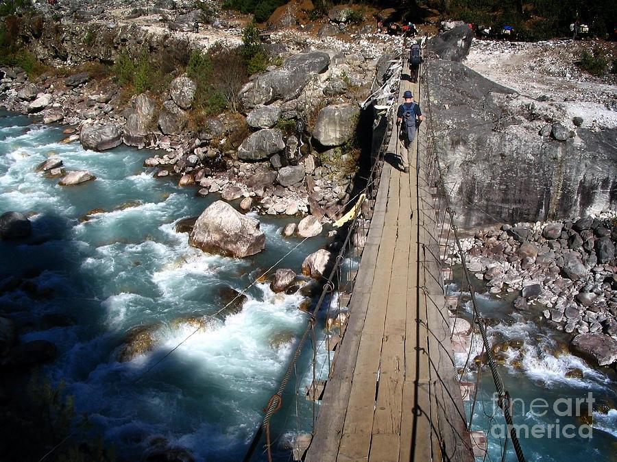 Nepal Photograph - Bridge Crossing by Tim Hester