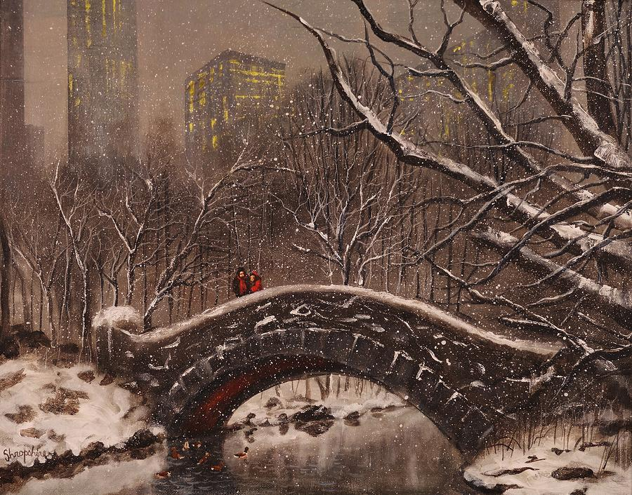 Snow Scene Painting - Bridge In Central Park by Tom Shropshire