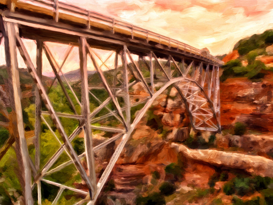Bridges Painting - Bridge In Oak Creek Canyon by Michael Pickett