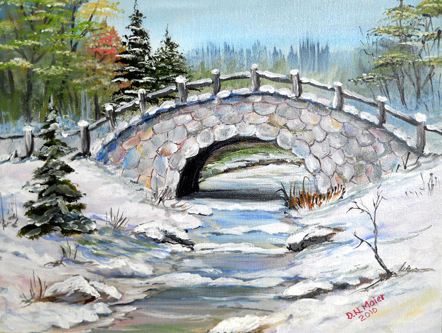 Bridge In Winter Painting By Dorothy Maier