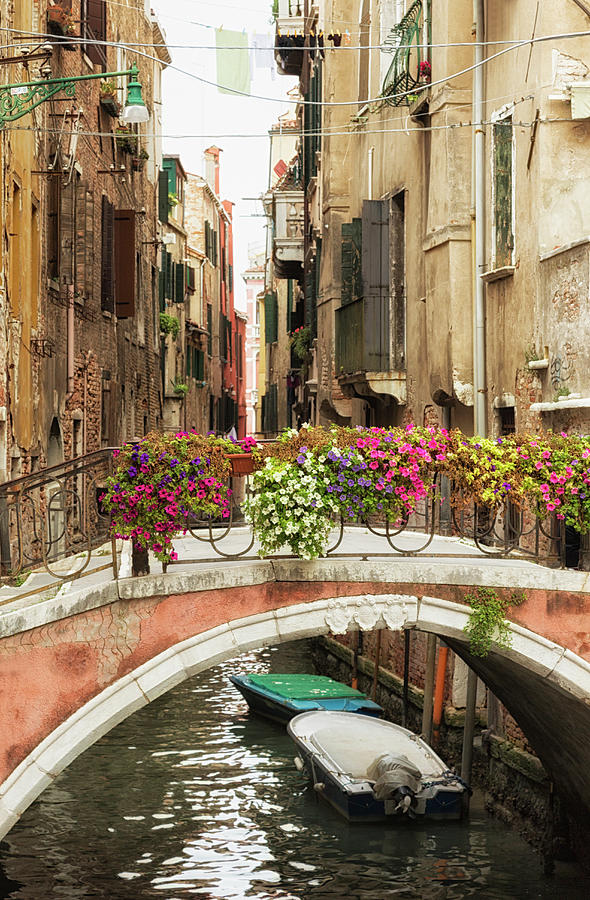 Bridge Over A Canal With Flowers, Venice Photograph by Elisabeth Pollaert Smith