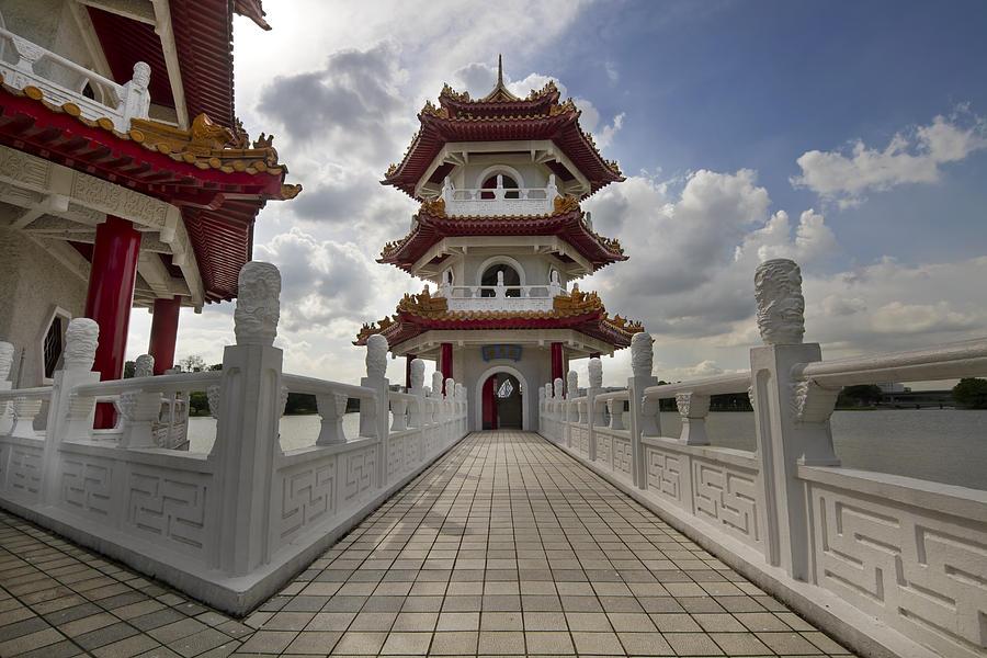 Bridge Photograph - Bridge To Pagoda At Chinese Garden by David Gn