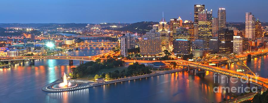 Pittsburgh Skyline Photograph - Bridge To The Pittsburgh Skyline by Adam Jewell