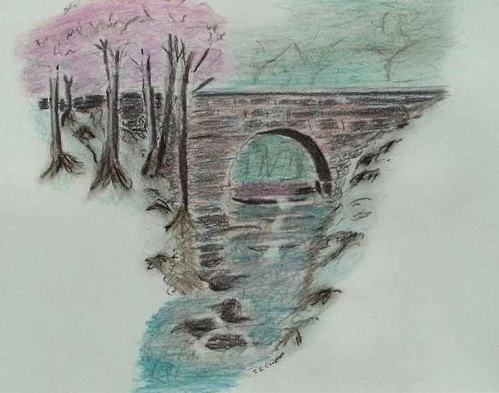 Stone Bridge Drawing - Bridge by Tom Cook
