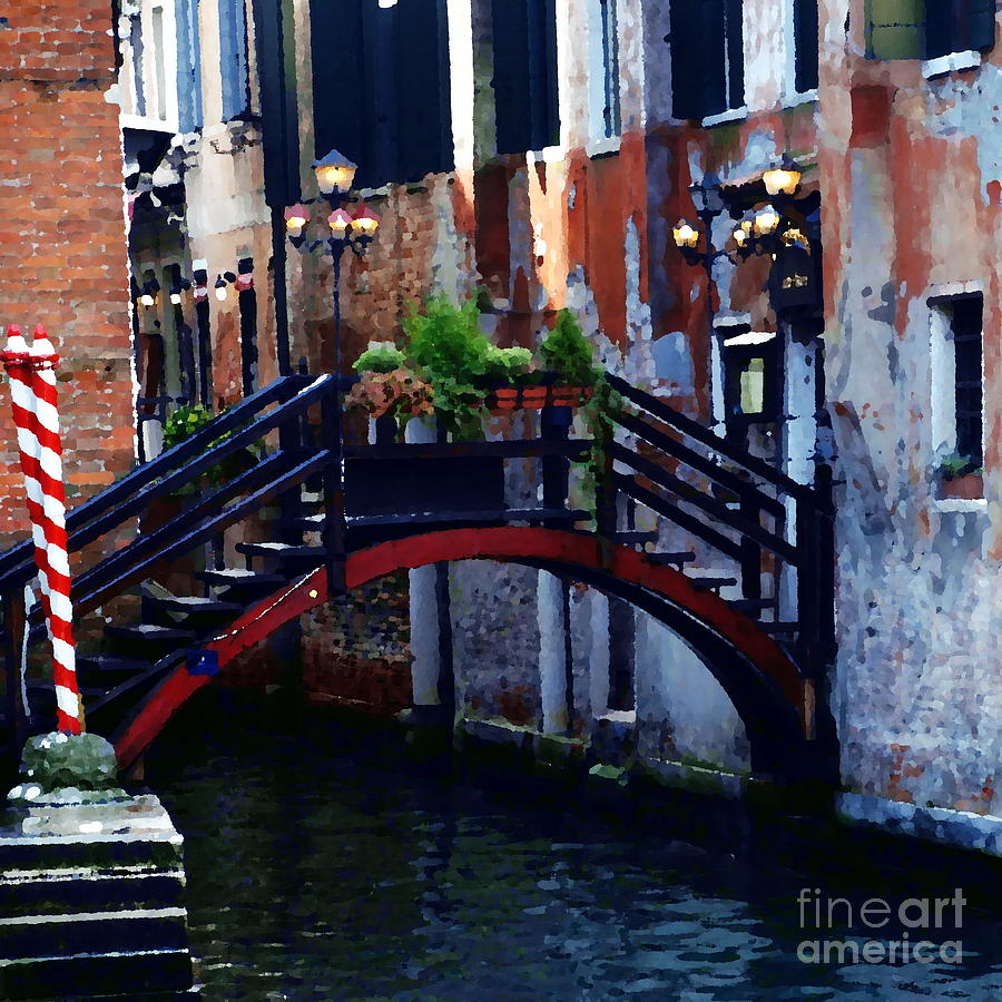 Venice Photograph - Abstract - Bridge With Flowerbox by Jacqueline M Lewis