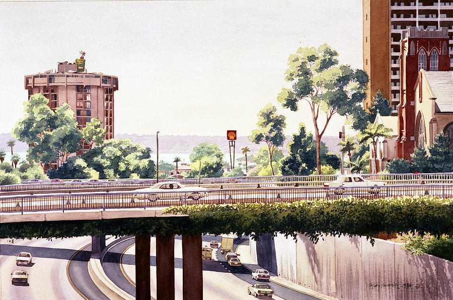 San Diego Painting - Bridges Over Rt 5 Downtown San Diego by Mary Helmreich