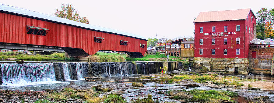 Bridgeton Indiana Photograph - Bridgeton Mill And Covered Bridge by Jack Schultz