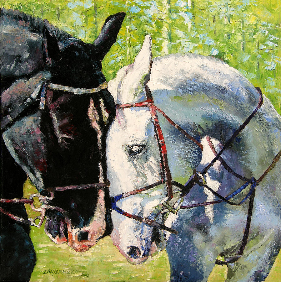 Horses Painting - Bridled Love by John Lautermilch