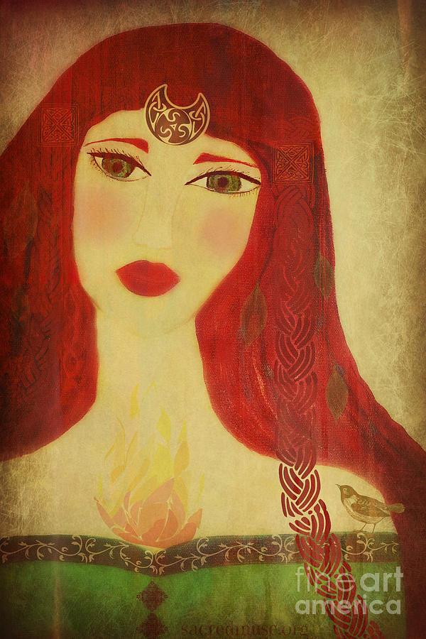 Celtic Painting - Brighid Celtic Goddess Folk by Sacred  Muse