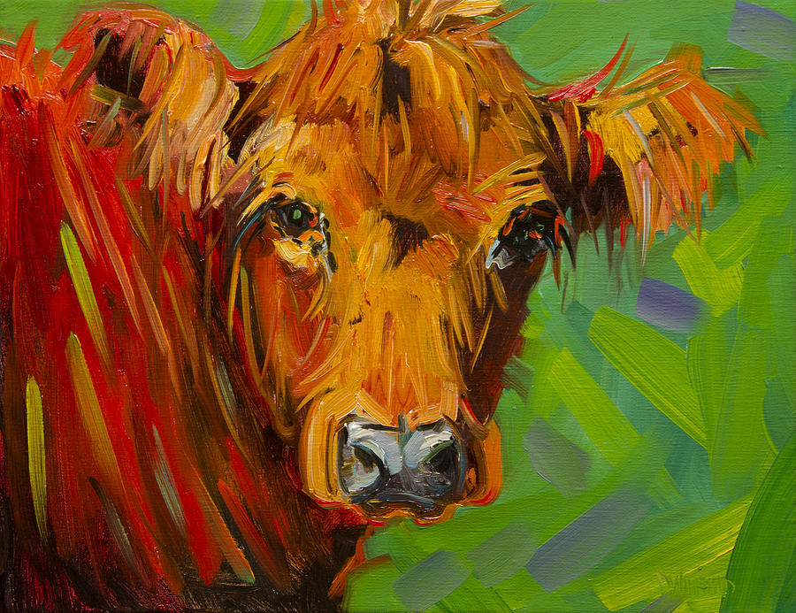 Cow Painting - Bright And Beautiful Cow by Diane Whitehead