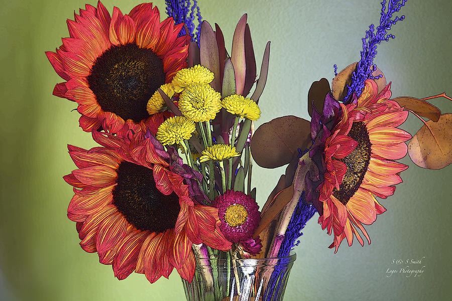 Bright and beautiful sunflower arrangement by Steve and Sharon Smith