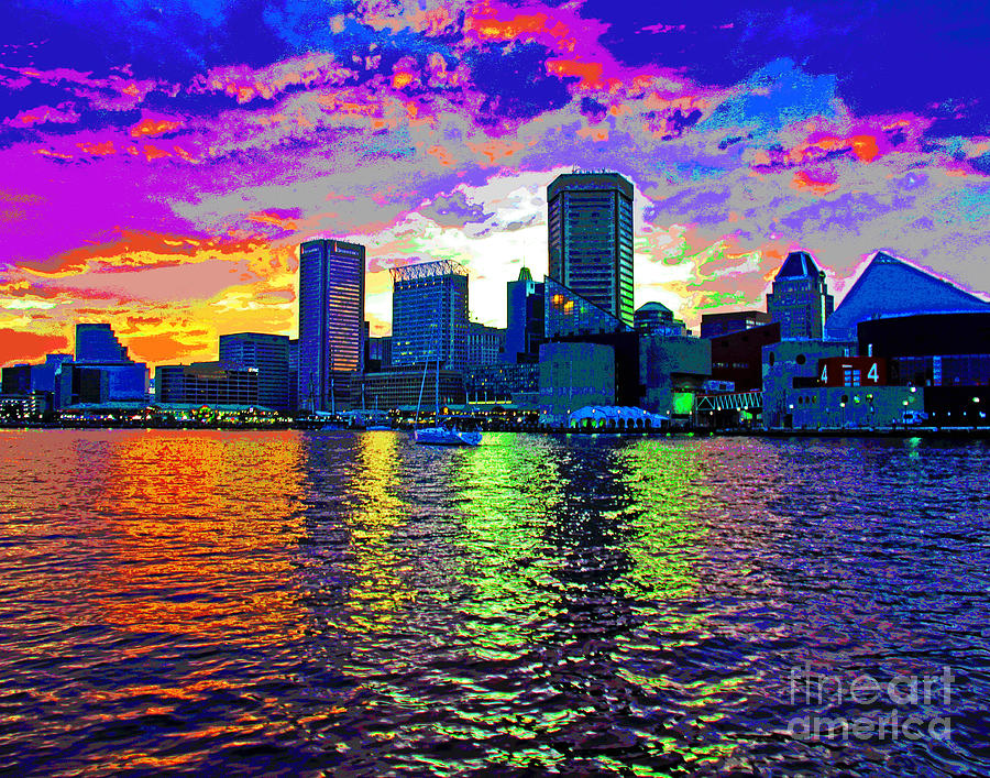 Bright Baltimore Harbor Sunset by Larry Oskin