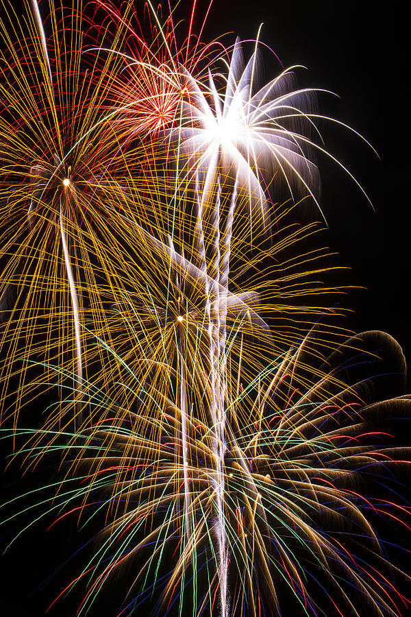 4th Of July Photograph - Bright Bursts Of Fireworks by Garry Gay