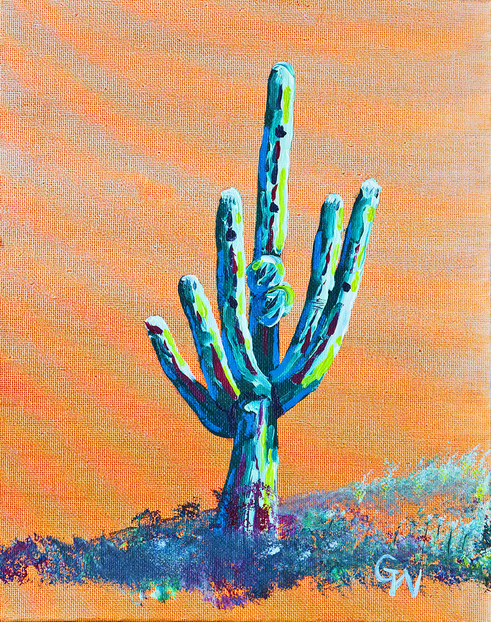 Oil Painting - Bright Cactus by Greg Wells