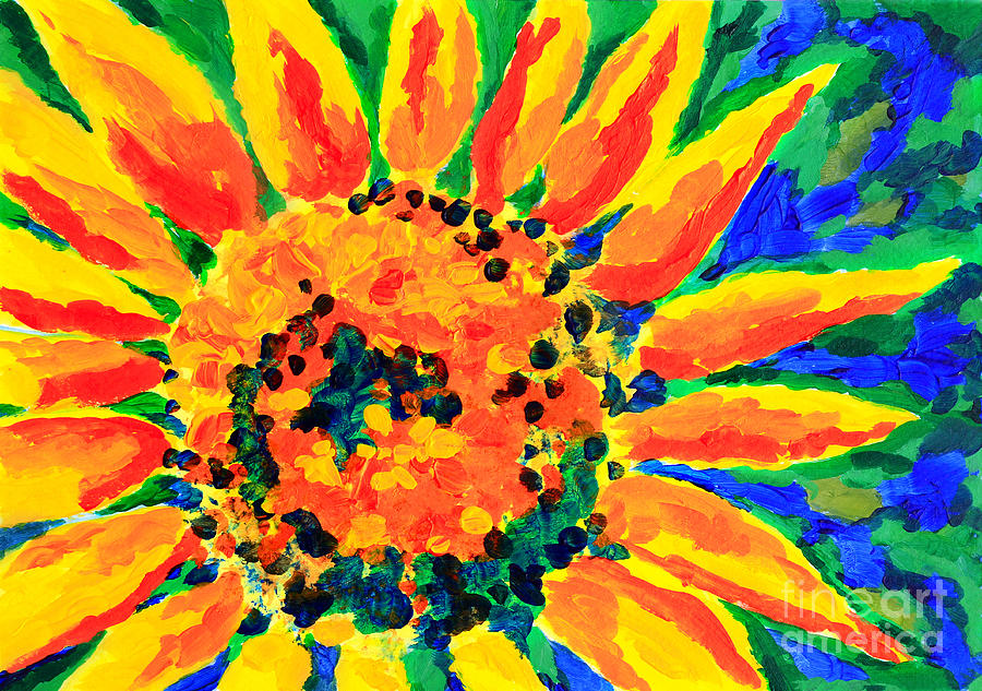 Bright Colorful Single Sunflower Acrylic Painting By